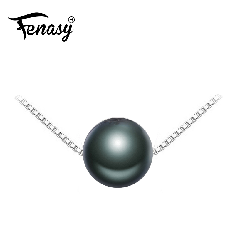 FENASY Black pearl brand Jewelry Natural Round Tahitian Pearl Necklace S925 sterling silver jewelry charms Necklaces for womenFENASY Black pearl brand Jewelry Natural Round Tahitian Pearl Necklace S925 sterling silver jewelry charms Necklaces for women