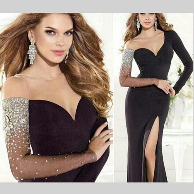 ab6cba3a6f007 2016 Sexy Black Long Sleeves Mermaid Evening Dress Split Front Sheer Top  Jersey Formal Evening Gown
