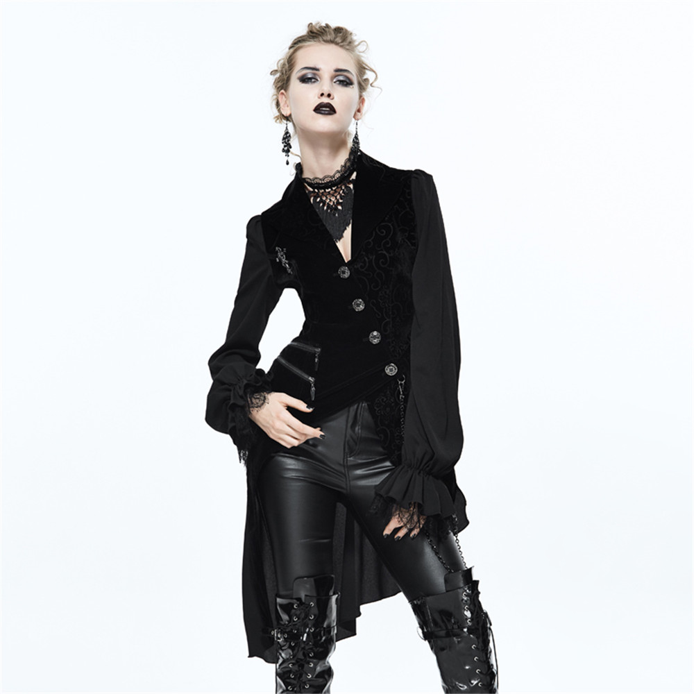 Gothic Punk Women s Formal Vest and shirt Asymetrical Black Waistcoat V Neck Party Jacquard Sleeveless