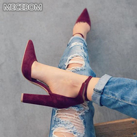 Women Pumps Sexy High Heels Shoes ladies Lace Up Point Toe Party Wedding Pump Black Woman shoes 35 43 chaussures femme 2253W