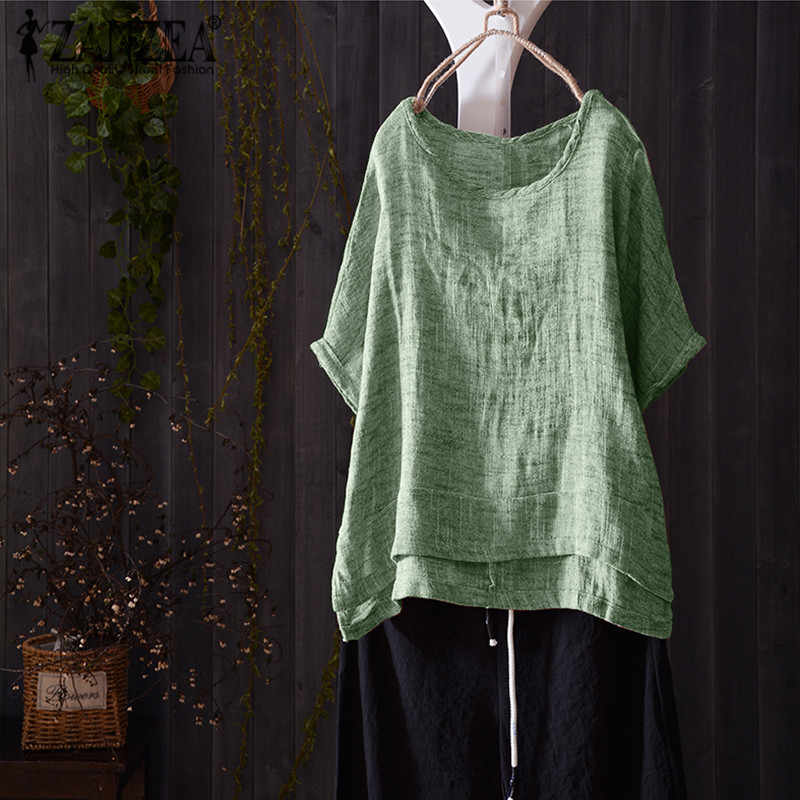 ZANZEA Casual Crew Neck Korte Mouw Losse Blouse Tee-Shirts 2019 Summer Fashion Vrouwen Solid Baggy Party Tops Plus size
