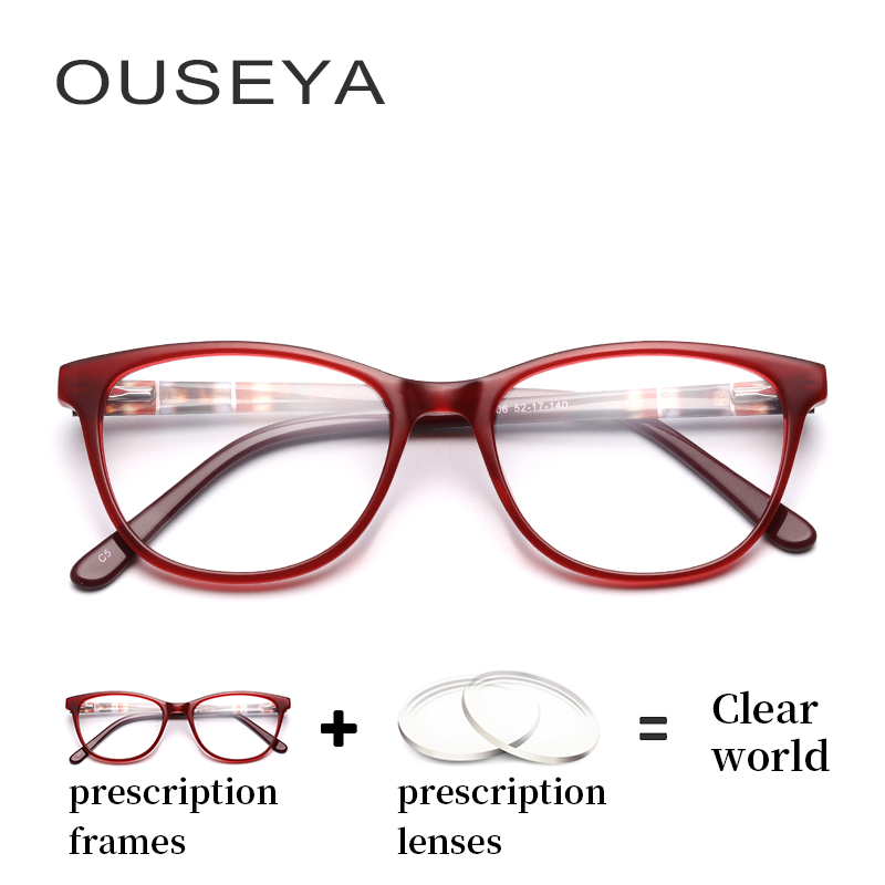 Glasses Women Diopter-Lens Transition Myopia Reading Optical-Retro Acetate With Aspherical