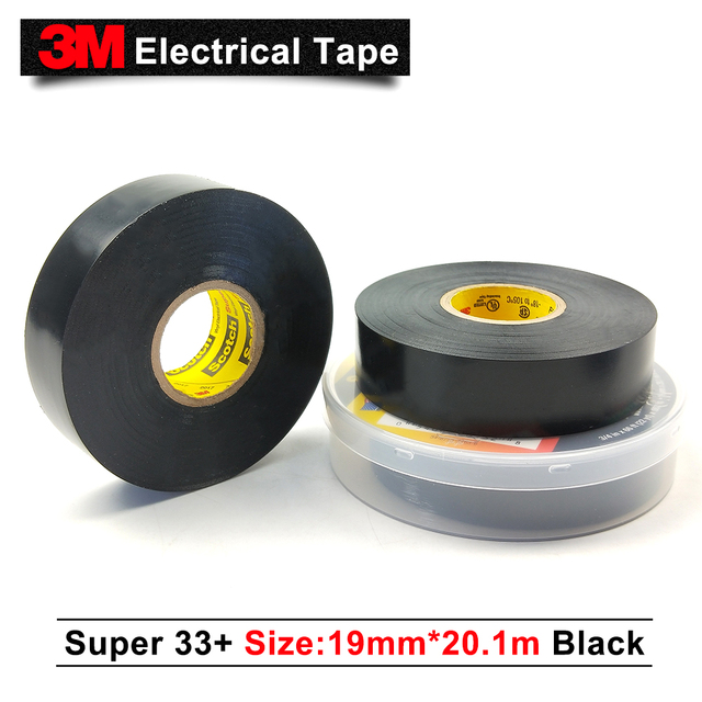 US $345 0 |3M single sided tape 19MM*20 1M 50 rolls/case 3m original scotch  super 33+ electrical insulation tape pvc tape rubber black 33+-in Tape