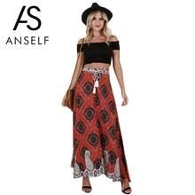 Anself 2018 nueva mujer Vintage borla imprimir Falda larga elástica de alta  cintura botón Tie Up Boho verano playa Maxi faldas p. 6553d0788873