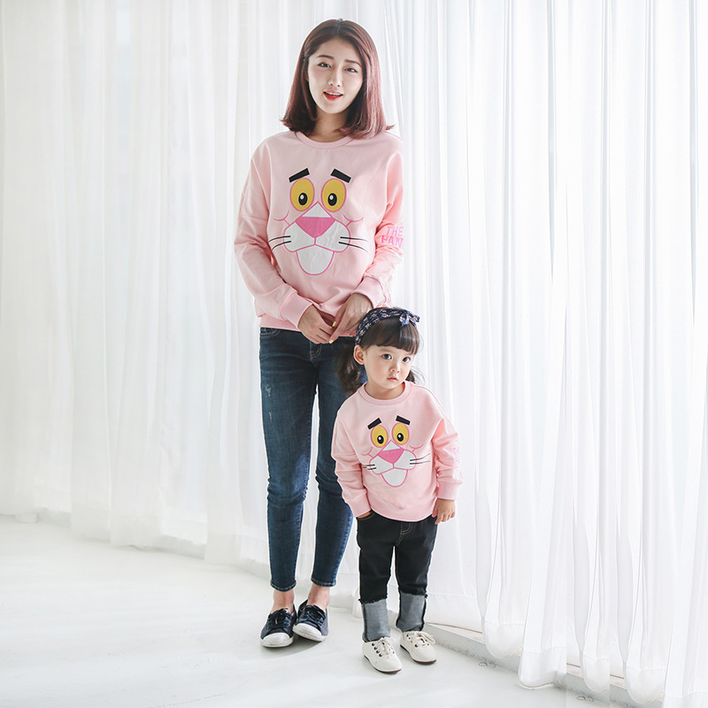 New Brand Family Matching Outfits Character Letter Cotton T Shirt Mother Daughter T Shirt Outwear Spring/autumn Family Look 2017