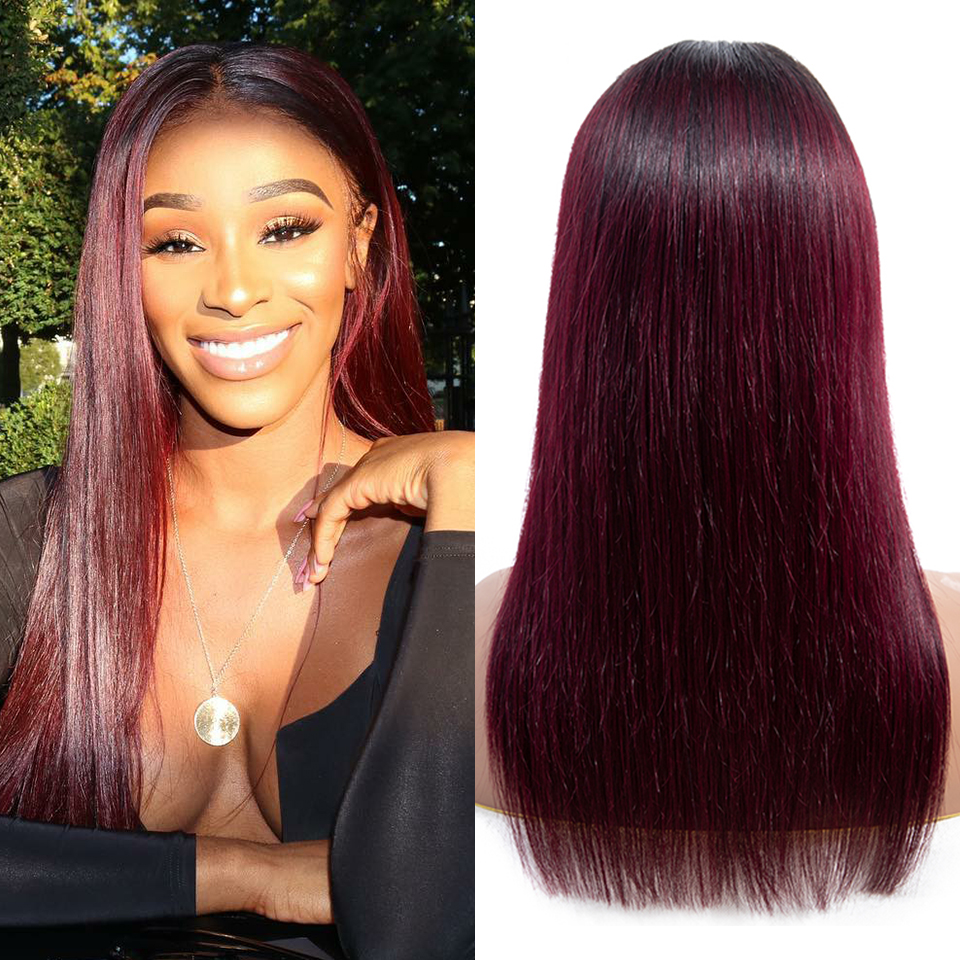 SEXAY 4x4 Lace Closure Wig 8-28inch Ombre 1b99j Burgundy Remy Hair Lace Wig Straight Lace Front Human Hair Wigs For Black Women (15)