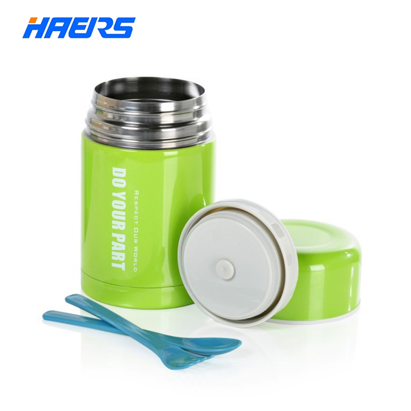 HAERS 750ML Hot Food Warmer Stainless Steel Vacuum Insulated Food Thermos with Bag Green Color Food Container for Kids LTH-750A