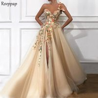 Long Evening Dress 2019 Gorgeous One Shoulder Oman Handmade Flowers Saudi Arabia Sexy High Slit Champagne Formal Evening Gowns