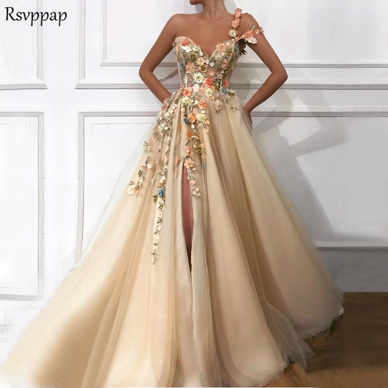 Long   Evening     Dress   2018 Gorgeous One Shoulder Oman Handmade Flowers Saudi Arabia Sexy High Slit Champagne Formal   Evening   Gowns