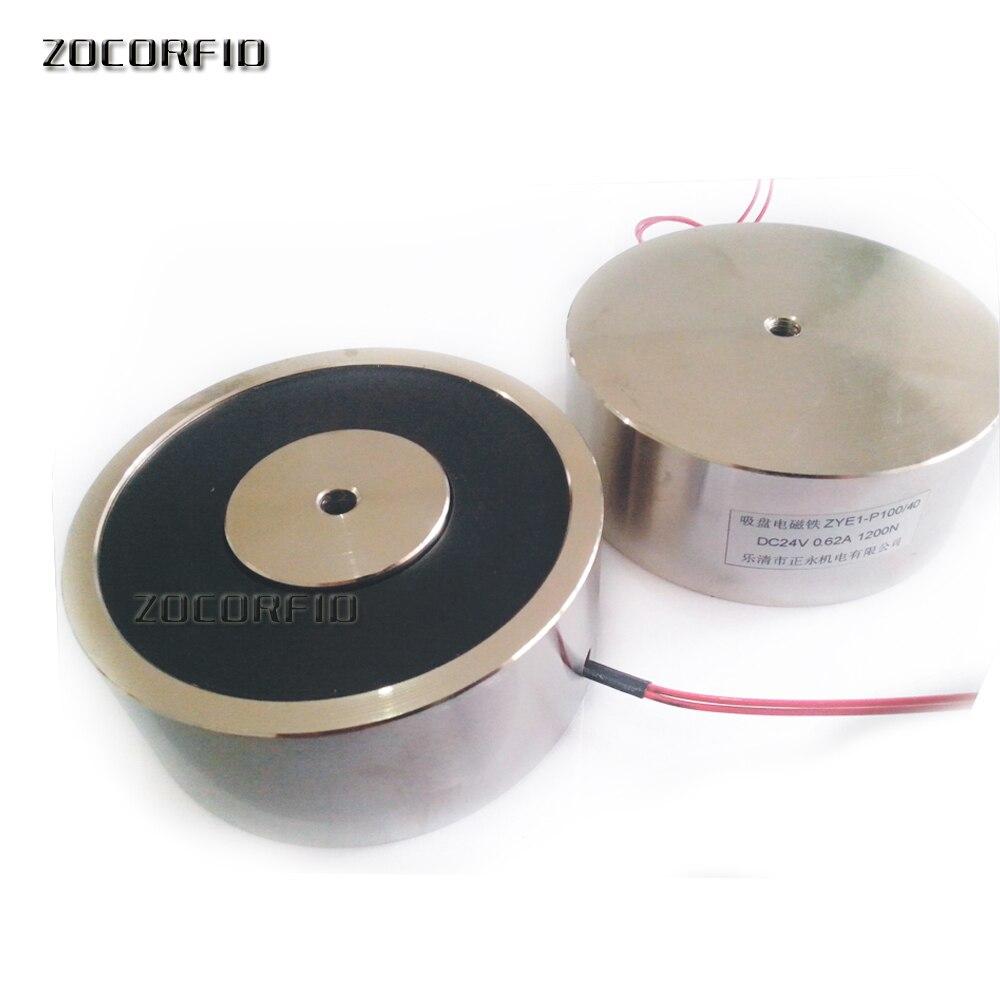 Électro-aimant de solénoïde de cc de P100/40 120 KG, électro-aimant de maintien rond électro tenant la Force 120 KG 12 V 24 V