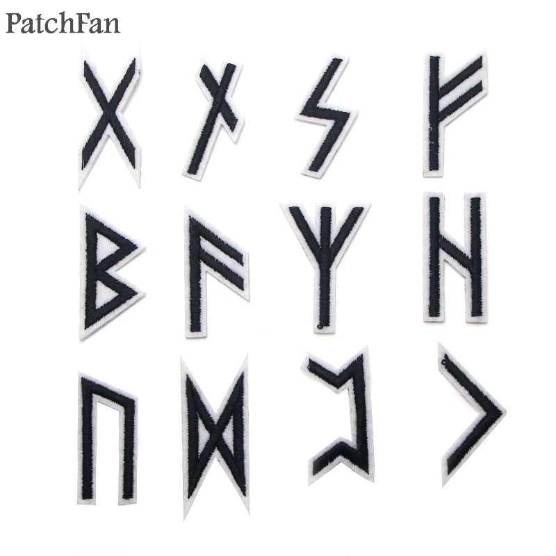 Patchfan Vichingo rune 24pcs Ricamato il Ferro sul Toppe E Stemmi para Abbigliamento Vestiti Appliques cosplay scarpe borsa badge Adesivi A0947