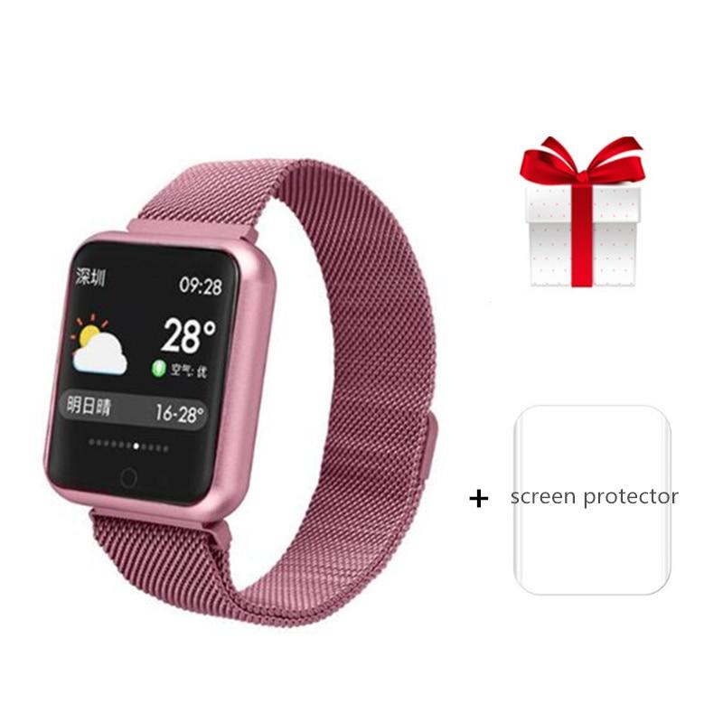 P68 bracelet intelligent + protecteur d'écran/ensemble femmes bracelet couleur écran intelligent bande tension artérielle moniteur de fréquence cardiaque VS B57 P70