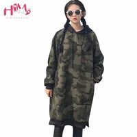 New Fashion Korean Street Wear Camouflage Long Hoodie Autumn Winter All Match Loose Pullovers Thicken Long