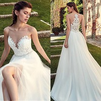 2019 New Arrival Illusion O Neck Tulle Wedding Dress with Split Beading Belt Appliques Gowns for Bridal Robe De Mariage