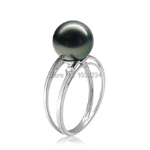 Style 10mm Black Tahitian Pearl Middle Silver Ring, Skilled Silver Ring Set 10mm Tahitian Pearl Wholesale,