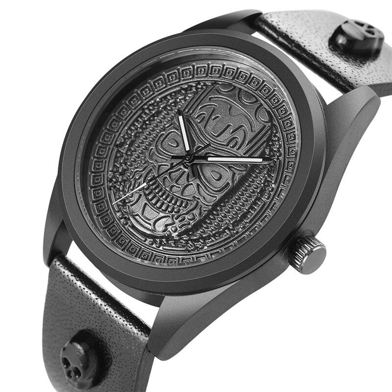 Винтаж Для мужчин кварцевые часы ремень из натуральной кожи бронза череп головы циферблат Нержавеющаясталь чехол для отца подарок Relogio