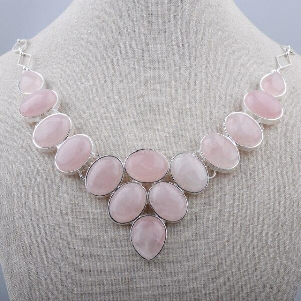 Nouvelle Arrivée Rose Quartz Luxe Pierre Semi-précieuse Collier Déclaration Chunky Colliers Pour Femmes GN-N028E