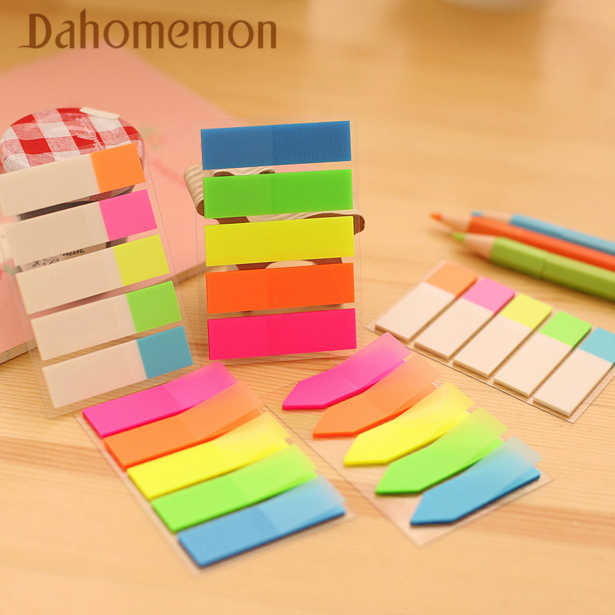 3 PCS Rainbow Fluorescence Sticky Memo Pads Mini Colorful Po