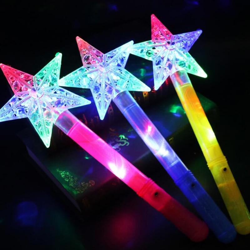 Girls Fairy Princess Star LED Flashing Wands Light UP Magic Wand Sticks Children Toy Gift Birthday