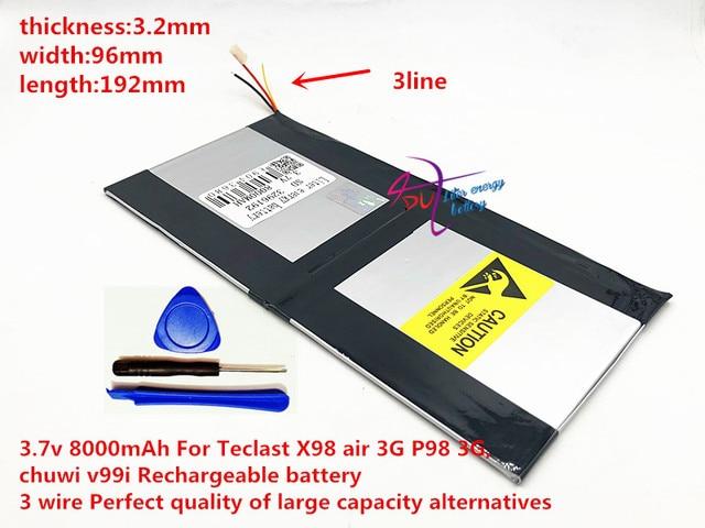 3.7v 8000mAh 3296192 For Teclast X98 air 3G P98 3G Tablet PC Battery 3 wire X98 X98 AIR p98 X98 P98HD P98