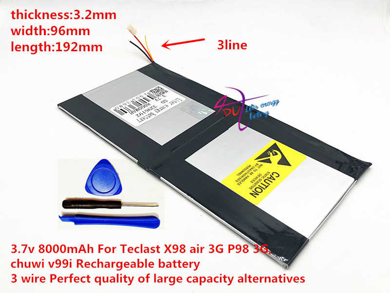 3.7v 8000mAh 3296192 For Teclast X98 air 3G P98 3G Tablet PC Battery 3 wire X98 X98 AIR p98 X98 P98HD P98 image