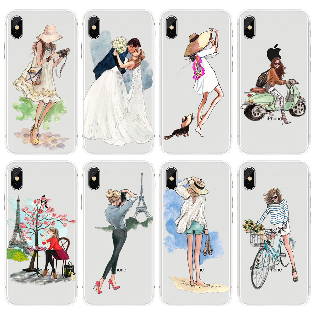 Soft Phone Case For Apple iPhone X 10 Clear Thin Silicon Beautiful Travling Girls Back Cover Shell Capa Couques for Apple iPhone