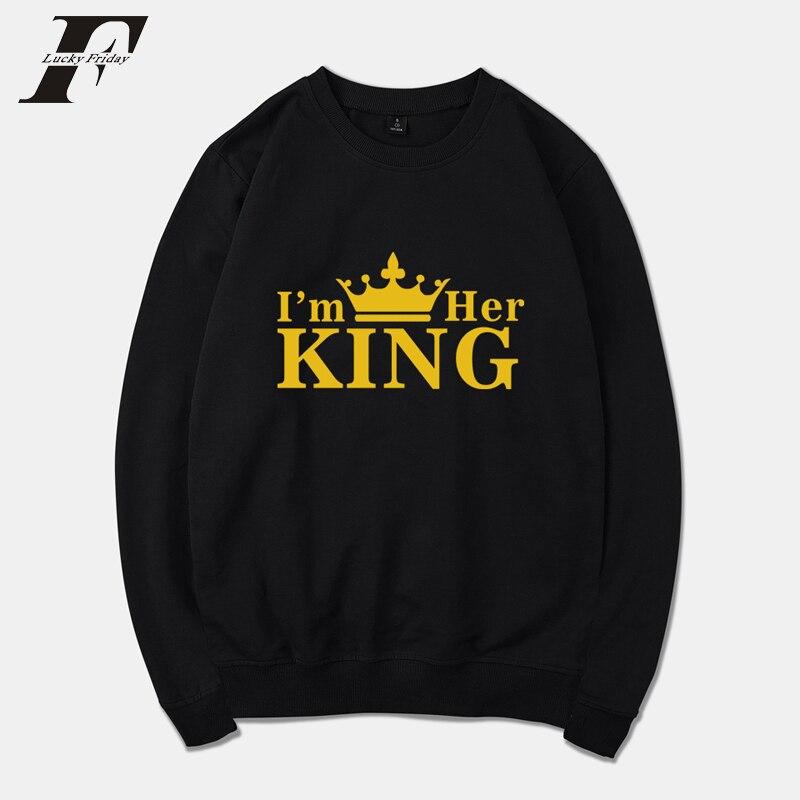 LUCKYFRIDAYF 2018 BTS KING QUEEN Winter Hoodies Men Sweatshirts Hooded Pullover Loose Fashion Harajuku Hot Sale Sweatshirt Men