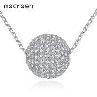 Mecresh 925 فضة قلادة قلادة طويلة مع واضحة الكرة الشكل زركون الأزياء والمجوهرات للنساء MXL095