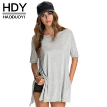 HDY Haoduoyi O Neck Short Sleeve Solid Side Split Tops Casual Loose High Low Tees Brief Preppy Style Soft Cotton T Shirt