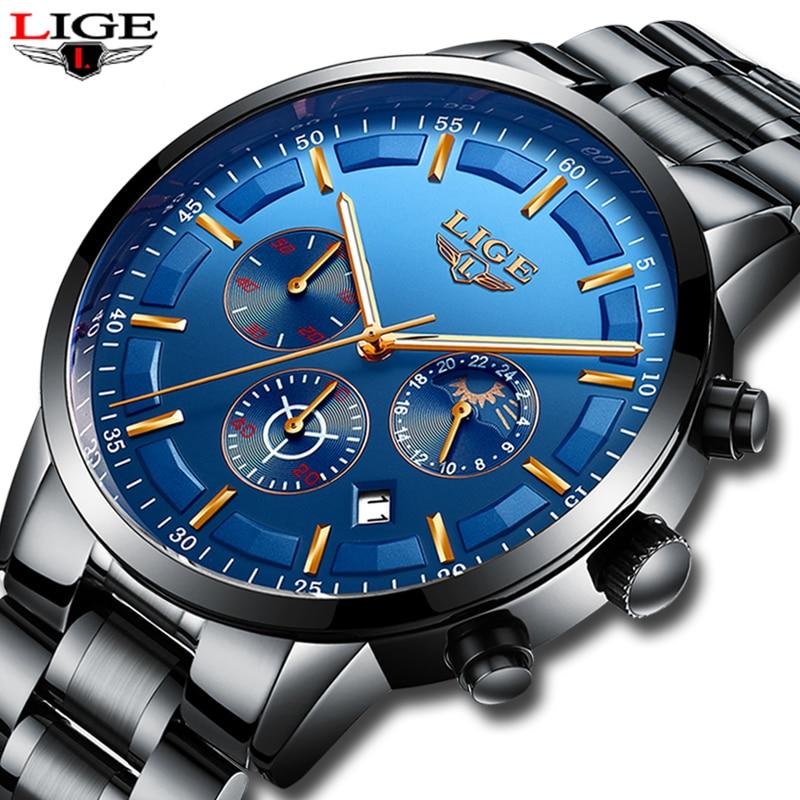 LIGE Hommes de Quartz Étanche Montre en acier Plein Hommes Montres Robe D'affaires De Mode Casual Sport Lune Phase Noir Bleu Mâle horloge