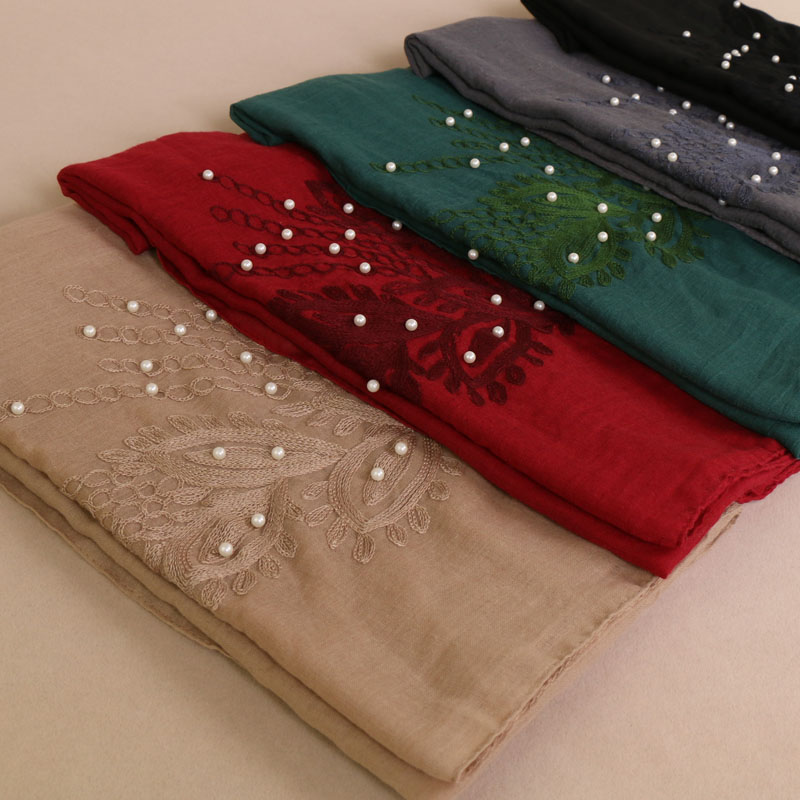 ladies embroider floral lace scarves muslim hijab beads wraps scarf headband pearl shawls scarf 10 color