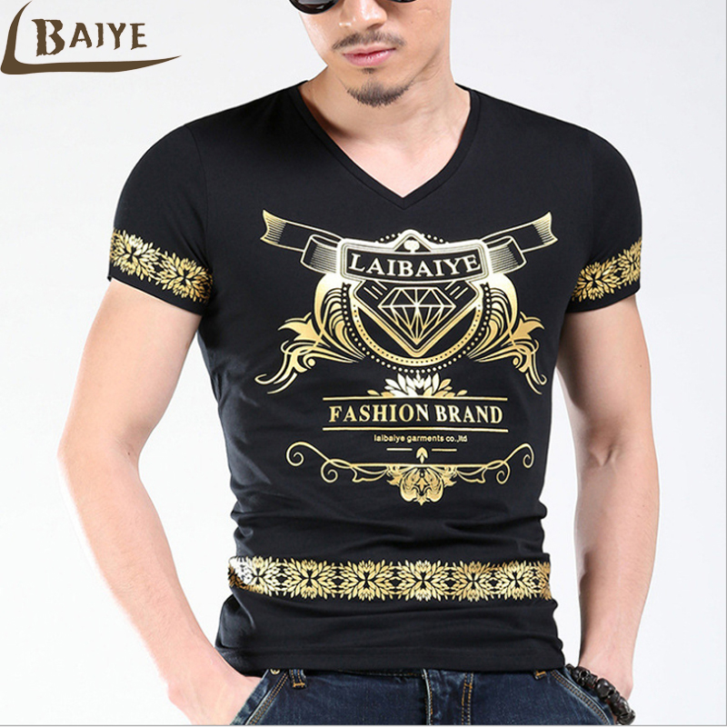 Tbaiye fashion slim print t shirt men bronzing luxury for Luxury t shirt printing