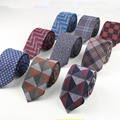 Soft Mens Fashion Diamond Check Artificial Wool Cotton Striped Skinny Ties Men business Small Ties Designer Cravat Dark Color