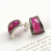 Like the moon 925 sterling silver jewelry silver earrings earrings high grade ladies red corundum