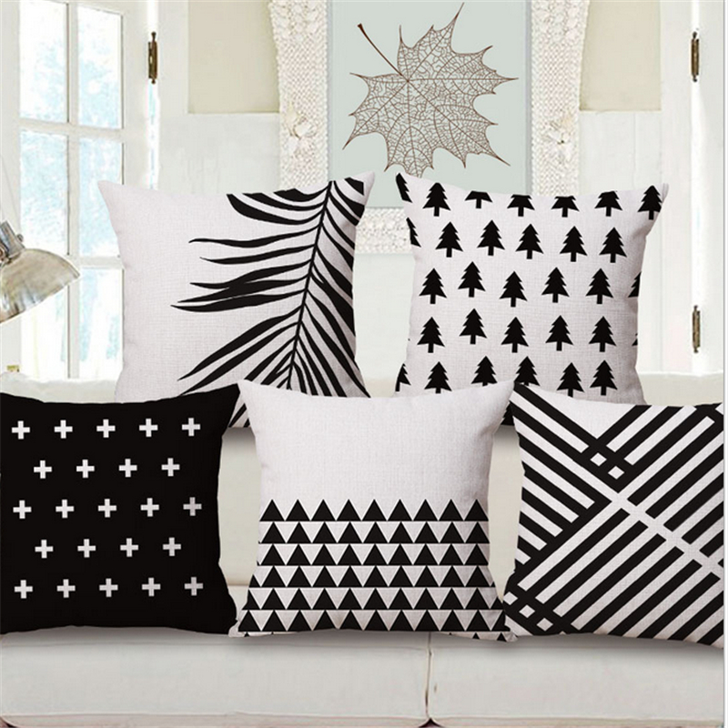 Cotton Linen Nordic Black White Swiss Home Office Decorative Throw Cushion Cover Pillow Case For Chair Sofa Seat Pillowcase