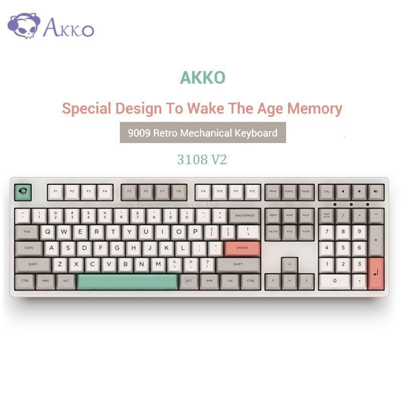 Nouveau AKKO 3108 V2-9009 rétro clavier mécanique 108 touches USB filaire type-c ordinateur Gamer complet Anti-fantôme touches Cherry Switch