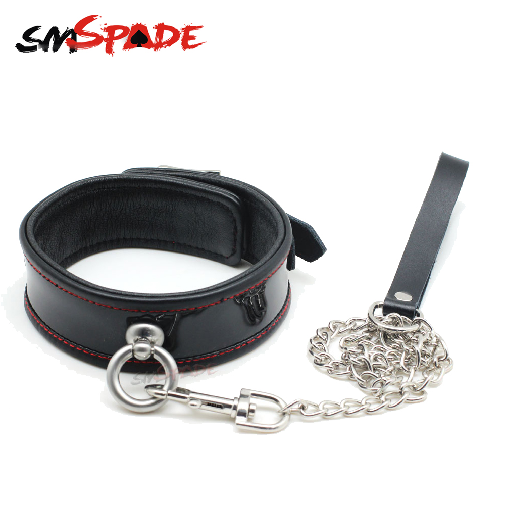 SMSPADE Fetish Black Genuine Leather Bondage Slave Collar Erotic Sex Neck Collar Leash with Metal Chain Sex Toys for Couple
