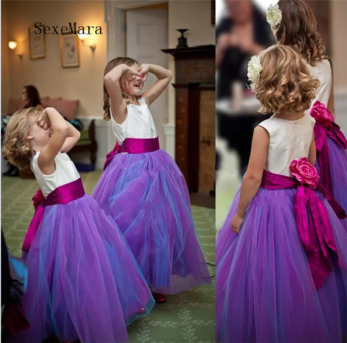 Customized Flower Girls Dresses For Weddings Tulle Elastic Satin Floor Length Ball Gown Pageant Dresses For Girls