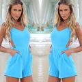 2016 Real Elegante Playsuit Jumpsuit Enteritos Mujer Europa Mulheres Marca Jumpsuit Backless Sexy Calcinha Short Cintura Conjunta