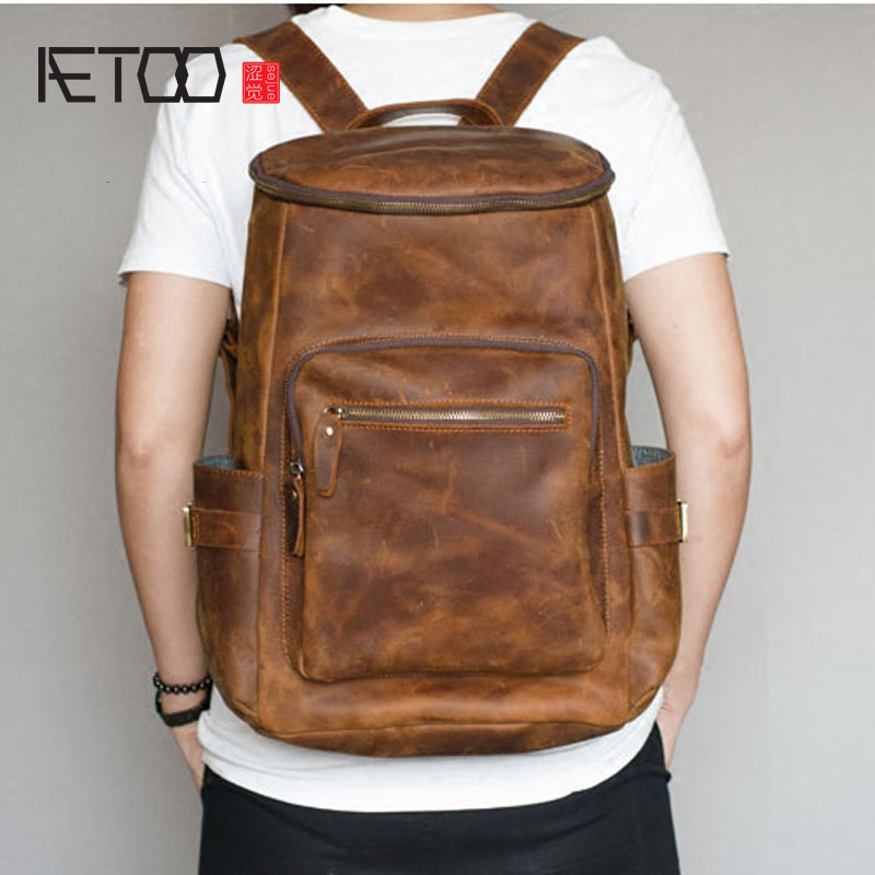 AETOO Ultra-wear-resistant imports of crazy horse leather large men's travel backpack retro male bag aetoo crazy horse skin large capacity shoulder bag male imports the first layer of leather handmade backpack female travel bag