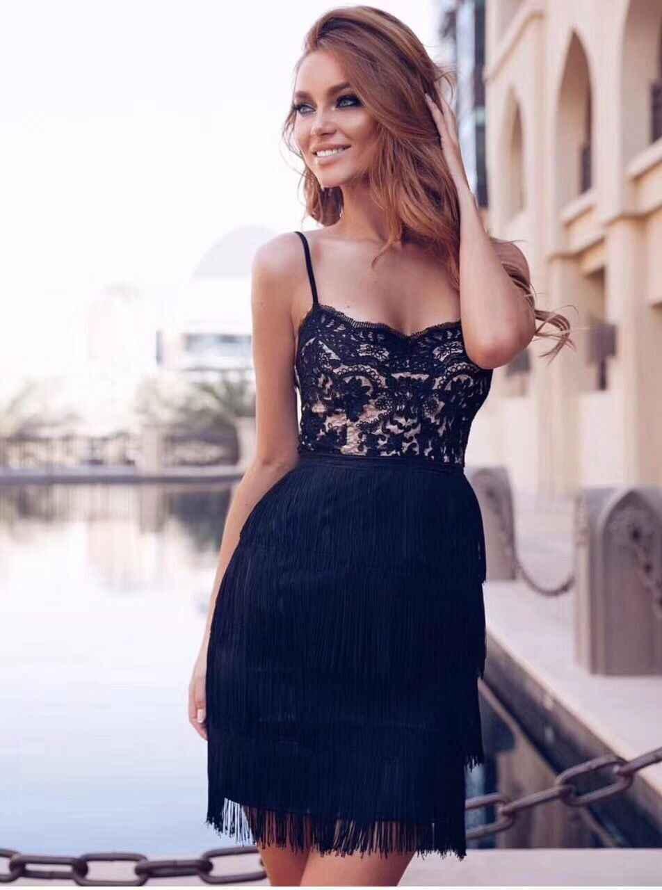 Top Quality Women Sexy Lace Sequins Tassel White Black Rayon Bodycon  Bandage Dress 2018 Designer Elegant 927b23343e41