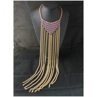Exclusive Fashion Jewelry Neck Long Tassel Weave Triangular Box Chain Bib Collar Statement Necklace For Women