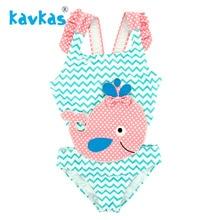 Kavkas/купальник для девочек с вышивкой Кита, Цельный купальник, ванный комплект, детская пляжная одежда для девочек