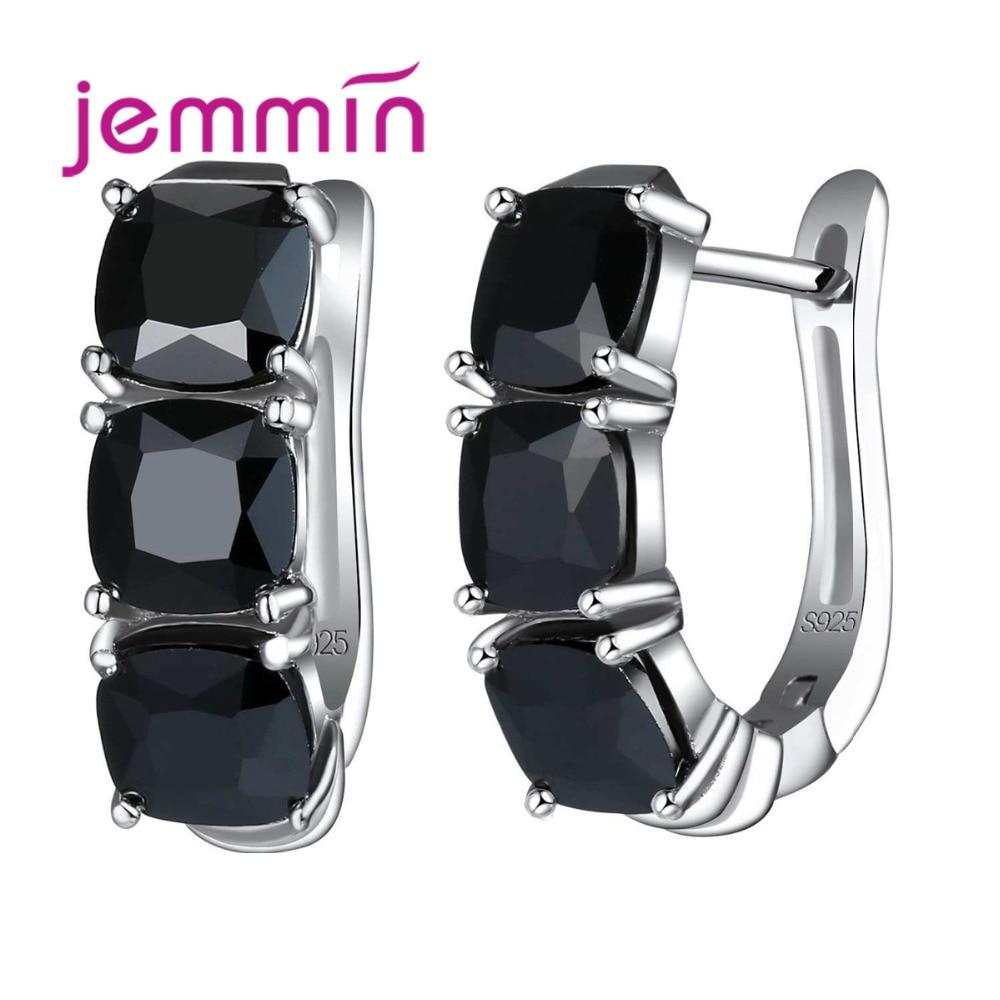Роскошные женские серьги-кольца черного цвета, стразы u-образной формы, Лидер продаж, вечерние ювелирные изделия из стерлингового серебра 925...