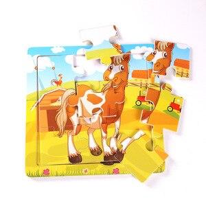 Image 2 - Nieuwe Aankomen Houten 9 Stuks Van Cartoon Dieren Puzzel Vroegschoolse Onderwijs Houten Speelgoed LL97