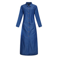 2017 Women Blue Denim Maxi Dress Turn Down Collar Shirt Dress Long Sleeve Casual 5XL 6XL
