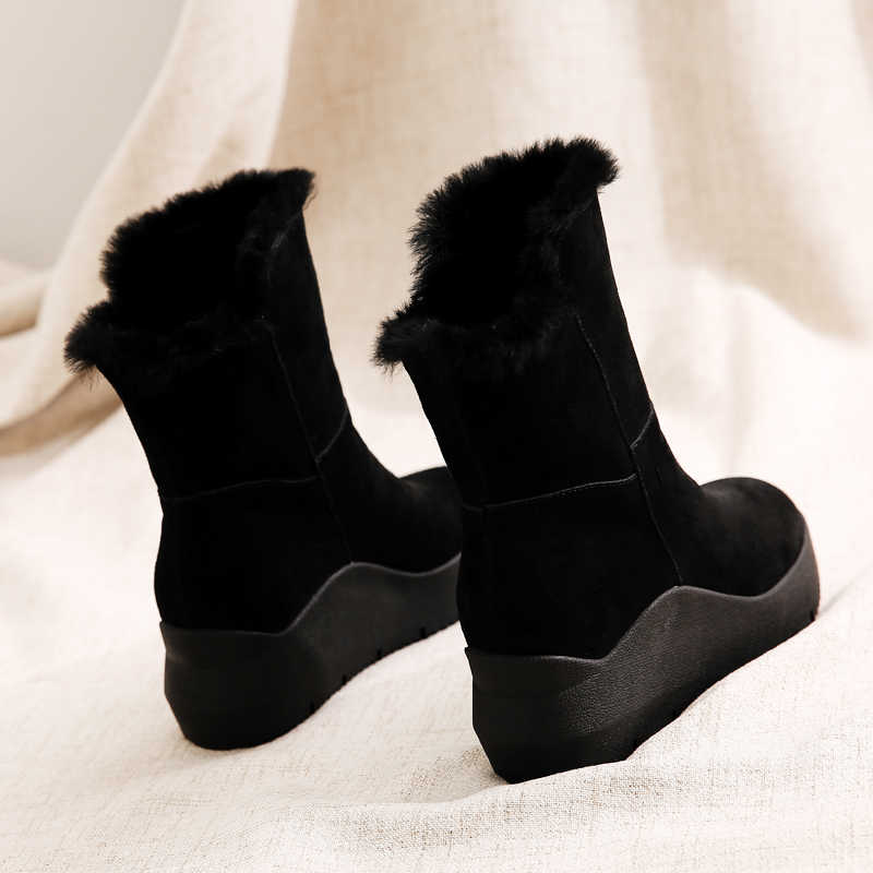 a2dec5bca6d Yasilaiya Fur one-piece snowshoes/uggs with inner height, muffins and  cotton/winter Korean version, versatile women's boots