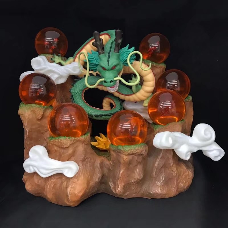 15cm Hot Dragon Ball Z Shenron Dragonball Z Figures Set Shenron+7pcs Crystal Balls+Tree Stump Stand Action Figures DBZ L1093