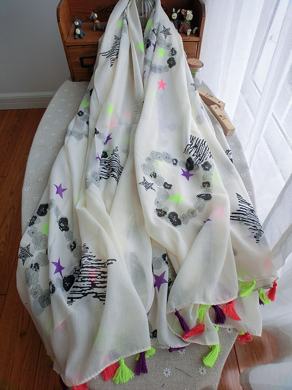 Free Shipping Graffiti Love Star Fringed Cotton Scarf Fluorescent Color Nude Color Scarf Shawl Female Sunscreen