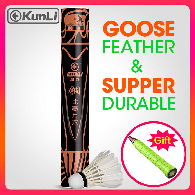 Original Kunli Badminton Shuttlecock Bronze Best Goose Feather Shuttlecocks For Professional Tournament Super Durable 12pcs